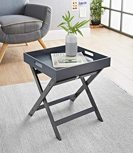 RA-HOMESTORE New Multi-Functional Bjorn Folding Tray Table -Transforms Into Laptray With Ease - Grey