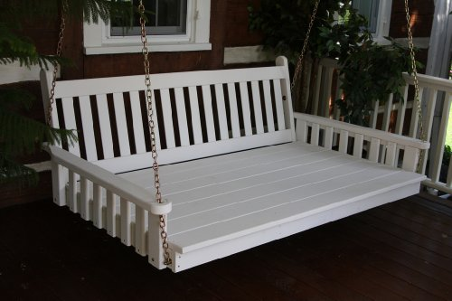 Outdoor 6' Traditional English Swing Bed - Oversized Porch Swing - Painted- Amish Made USA -White
