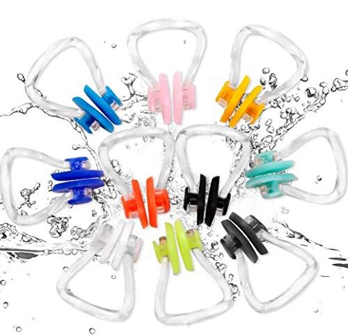 Voarge Nasenklammer Schwimmen, 10 Stück Schwimmen Nase Clip Nasenklammer für Erwachsene und Kinder Schwimmen Freitaucher und Anfänger