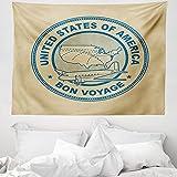 ABAKUHAUS Reise Wandteppich & Tagesdecke, Vereinigte Staaten Karte Flugzeug, aus Weiches Mikrofaser Stoff Wand Dekoration Für Schlafzimmer, 150 x 110 cm, Tan & Blau