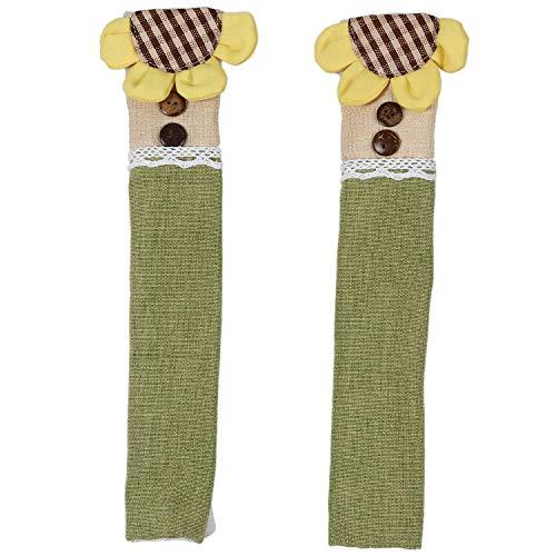 Fransande Un par de fundas de algodón para pomo de puerta de refrigerador práctico de doble puerta de refrigerador guantes protector de cocina para el hogar herramientas
