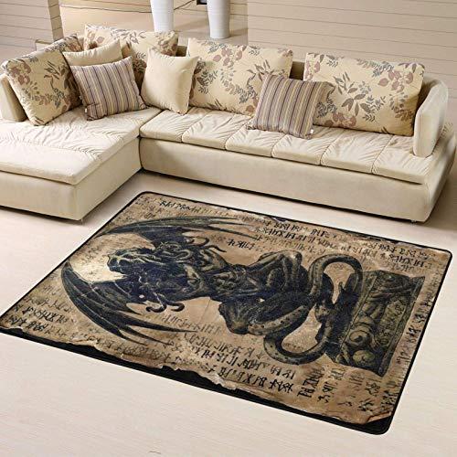 Waschbarer Cthulhu Idol Bodenteppich Badteppich für Küche Wohnzimmer Schlafzimmer Büro Heimdekoration Teppich 183 x 122 cm