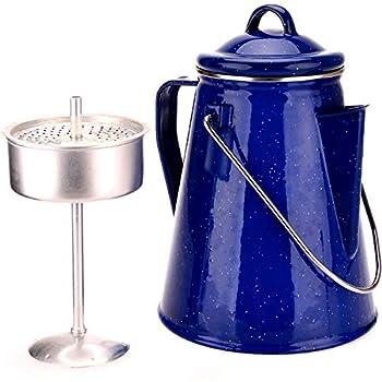 OZtrail Cafetière émaillée avec percolateur Capacité 8 Tasses (2L). Pot à Café en Email 600gr Percolateur séparé Inclus. Peut être utilisé comme cafetière, Bouilloire ou théière.