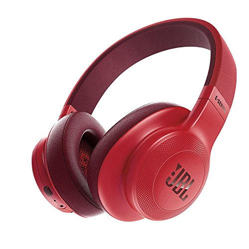 JBL Unisex E55BT Over-Ear Cuffie Wireless Rosso T-shirt, Nero, L