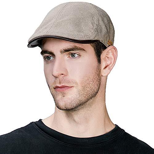 Comhats Comhats Herren Schirmmütze Newsboy Mütze mit PU Visor6-Panel 57-59CM Khaki