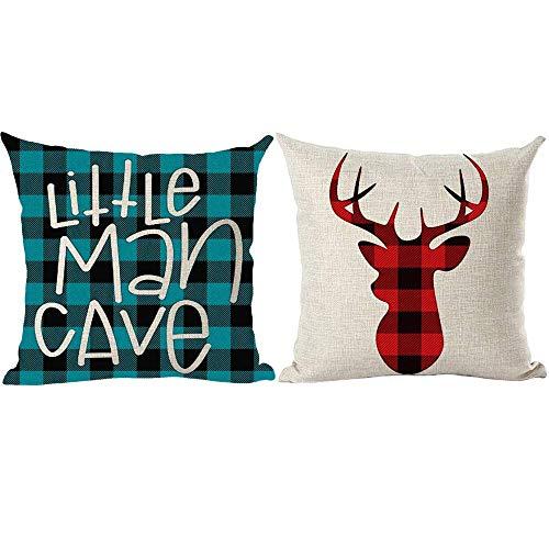 Kysd43Mill Juego de 2 fundas de almohada decorativas de lino y algodón, 45,7 x 45,7 cm para sofá, cama, coche, diseño de cueva de hombre pequeño, color rojo, azul y negro