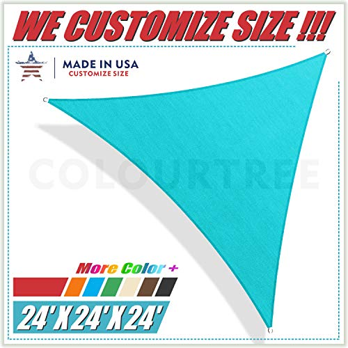 ColourTree 24' x 24' x 24' Turquoise Triangle Sun Shade Sail Canopy Awning Fabric Cloth Screen - UV Block UV Resistant Heavy Duty Commercial Grade - Outdoor Patio Carport - (We Make Custom Size)