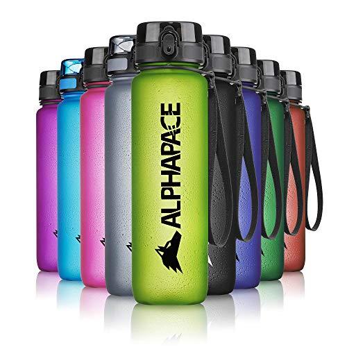 ALPHAPACE Trinkflasche, auslaufsichere 1.000 ml Wasserflasche, BPA-freie Flasche für Sport, Fahrrad & Outdooraktivitäten, Sportflasche mit Fruchteinsatz, in Lime-Green