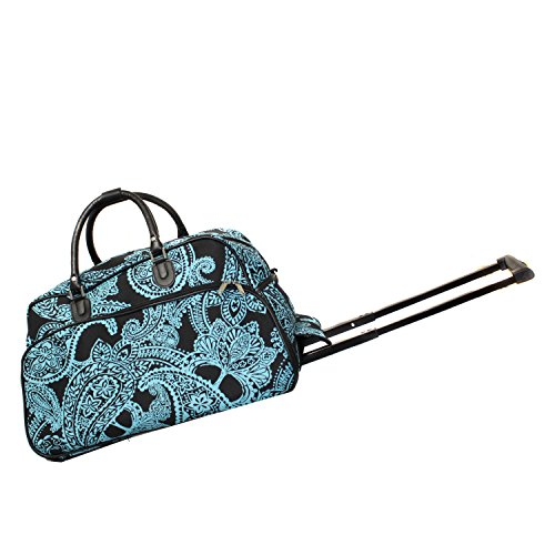 World Traveler 21-Inch Carry-On Rolling Duffel Bag, Black Blue Paisley