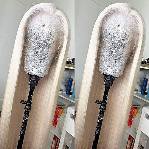 Missyvan White Hair Color Lace Front Wig Long Straight Hair Wigs Platinum Blonde Heat Resistant Fiber Hair Synthetic Lace Front Wigs for Fashion Women