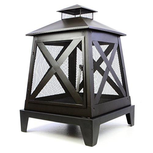Nexos Terrassenofen Metall Feuerstelle 82 x 54 x 54 cm Feuerhaken Rost Gartenkamin mit Tür robust wetterfest 13 kg schwarz