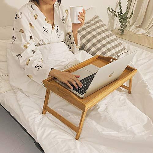 sogesfurniture Bambus Betttablett Serviertablett, Betttisch mit klappbaren Beinen für Frühstück als Tabletttisch, Beistelltisch, Sofatisch, 53x30x24 cm, BHEU-KS-HSJ-05