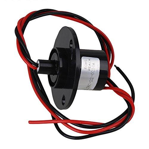 BQLZR 43.9MM Black 2 Draehte 500RPM AC/DC 240V 10A Metall Platic Hattype Kapsel Schleifring fuer elektronische Geraete