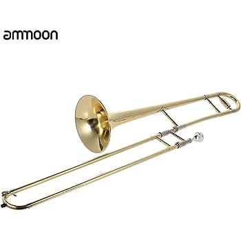 ammoon Trombone Tenore in Ottone Laccato Oro Strumento a Fiato con Bocchino in Lega di Rame-nichel Asta per la Pulizia e Custodia Rigida