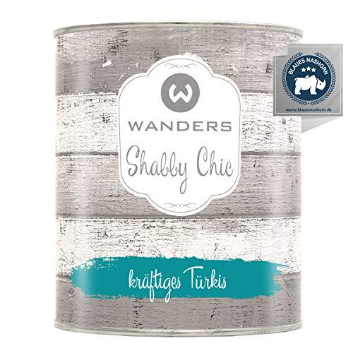 Wanders24® Kreidefarbe (750 ml, kräftiges Türkis) Holzfarbe für Shabby Chic Look - Möbelfarbe einfach zu verarbeiten - Möbellack auf Wasserbasis - Made in Germany
