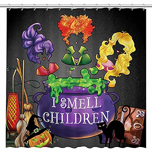 Allenjoy 72x72'' Halloween I Smell Children Shower Curtain for Bathroom Set Fall Autumn Witches Broom Home Bath Bathtub Decorations Durable Fabric Machine Washable with 12 Hooks