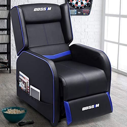 Lemberi Gaming Recliner Chair Racing Style Morden Recliner Seating Sofa Ergonomic Single Lounge Sofa PU Leather Sofa Home Theater Seating for Living Room & Home blue chair gaming