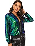 SheIn Women's Zip Up Stand Collar Sequin Casual Long Sleeve Crop Jacket Multicoloured# Small