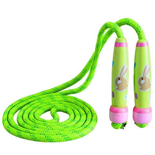 VerteLife Springseile Kinder Verstellbare Sport Hüpfseil Springen Seil mit Karikatur Holzgriff und Baumwoll Seil Ideal für Jungen und Mädchen Fitness Training/Spiel/Fett Brennen Übung - Hase