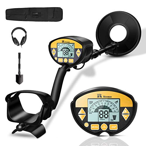 RM RICOMAX Metal Detector - Professional Waterproof with High-Accuracy Metal Detector for Adults & Kids, 9-Inches Detection Depth Portable Gold Detector with LCD Display & Headphone Available
