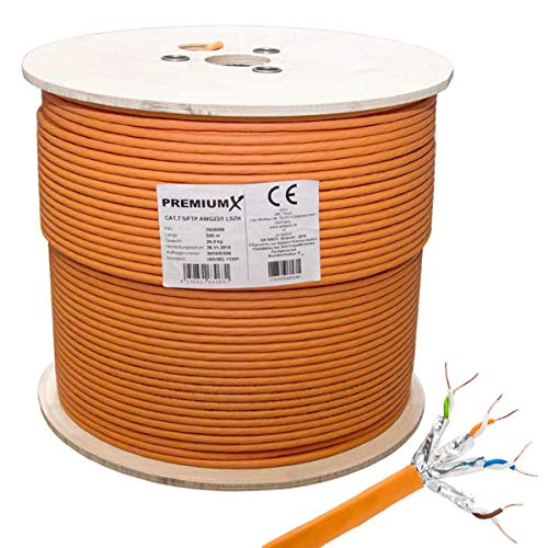 PremiumX 500m CAT 7 Netzwerkkabel Simplex LAN-Kabel Ethernet Datenkabel S/FTP PiMF Eca Verlegekabel Installationskabel Cat.7