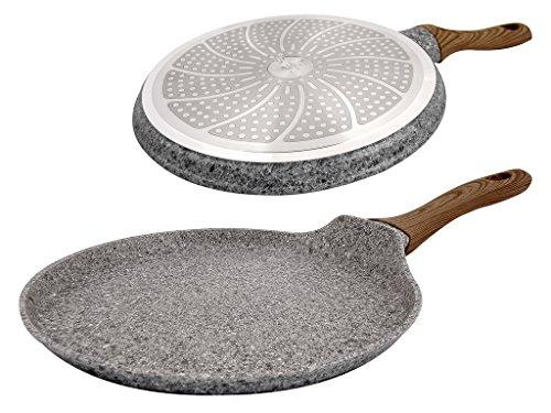Poêle à crêpes de qualité supérieure en fonte d'aluminium antiadhésive avec revêtement en marbre, Fonte d'aluminium, 25cm- II Design
