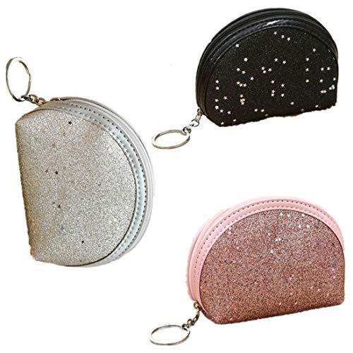 Fully 3stk. Mini Geldbörse Beutel Portemonnaie ohne Straps Taschen mit Schlüsselanhänger Reißverschluss für Kinder Mädchen