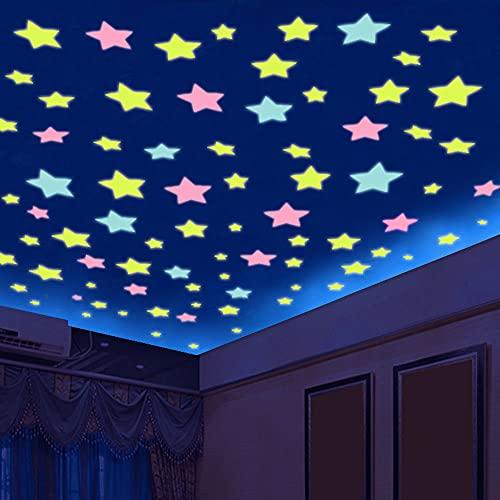 Acmxk Azulejos Adhesivos para Sala De Estar Dormitorio Cocina BañO, Estrellas 3D Brillan En La Oscuridad DIY Papel Pintado, Impermeable Protector contra Salpicaduras 100 Piezas/Juego