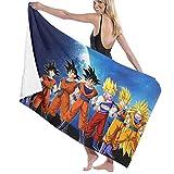AGSIGGS Dragon Ball Z Goku Toalla de playa de algodón absorbente de microfibra toallas de baño de secado rápido para mujeres, niños