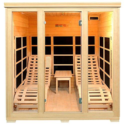 Infrarotkabine/Wärmekabine Billund Dual Heizsystem & Hemlockholz | Infrarotsauna mit 2 Relaxliegen für 2 Personen | ArtSauna