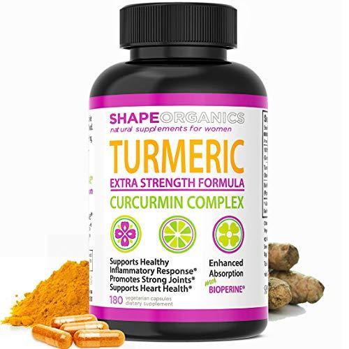 Shape Organics Tumeric Curcumin Supplement: Anti Inflammatory Supplement Support Joint Pain, Liver Cleanse Detox, Max Strength Turmeric Curcumin With Bioperine Tumeric With Black Pepper Capsules 180ct