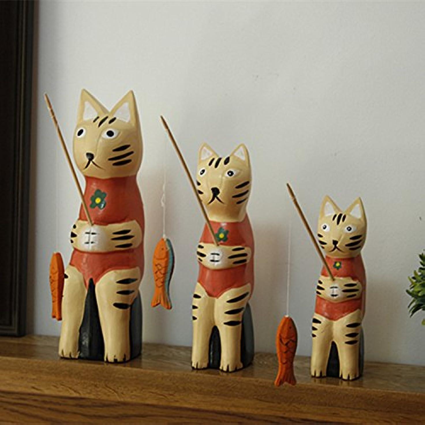 gotor? 雑貨 北欧 置物 インテリア 部屋装飾 店舗飾り ウッド製 アクセサリ 猫釣り 3個セット (レッド)