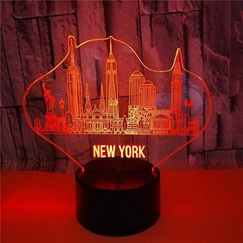 GXJAWYZ Luz de Noche de Nueva York LED 3D Lámpara de Mesita 16 Colores Lámpara de Ilusión Lámpara de Decoración con Función Regulable y Control Remoto Perfecto para Niños Adultos