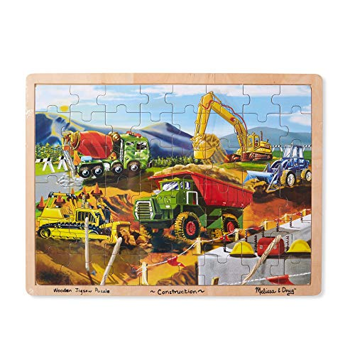 Educational toy idea for your preschooler! Melissa and Doug wooden construction trucks puzzle! This toy is great for fine motor skills.