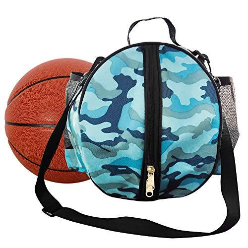 INHEMI Basketball Tasche,Runde Umhängetasche Tasche für Ball Sport - Blau