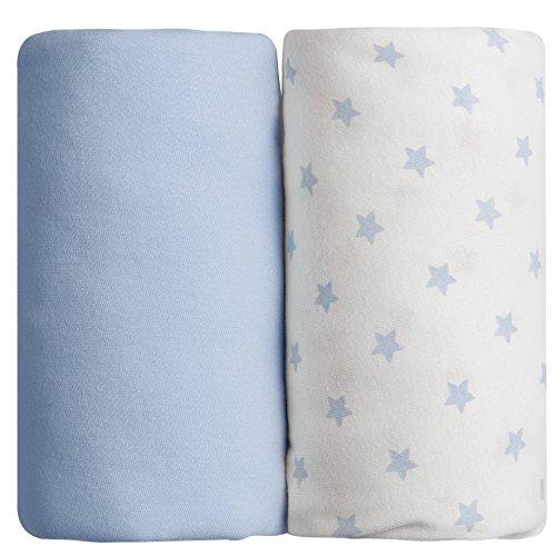 Lot de 2 draps housse bleus uni + étoilé Babycalin - 60 x 120 cm