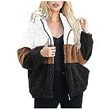 Chaqueta de forro polar para mujer con frente abierto Sherpa Cardigan color block patchwork abrigos Outwear con bolsillos, A marrón., S
