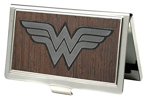 Buckle-Down Business Card Holder - Wonder Woman Logo Marquetry Black Walnut/Metal - Small
