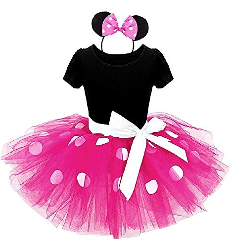 Disfraz de Mickey Mouse - vestido - disfraz - minnie - cuerpo - tutú - tul - diadema - carnaval - halloween - niña - talla 130-6 años - idea de regalo cumpleaños de navidad - fucsia