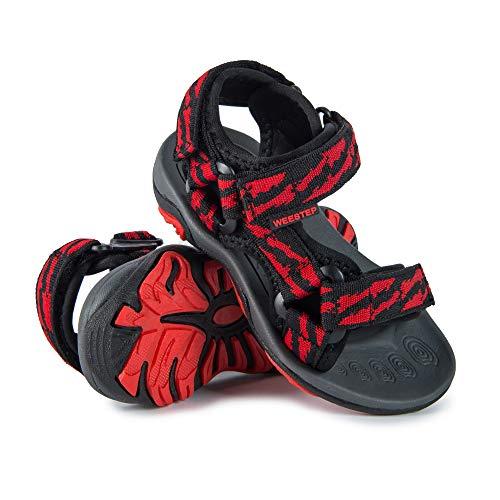 Weestep Toddler Little Kid Boys Girls Adjustable Strap Sandal (3 M US Little Kid, Black/Red)