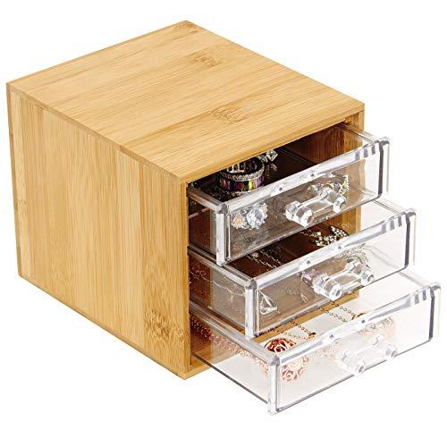 Macallen Organizzatore di Trucco Legno Organizer Gioielli Cosmetici Contenitore di Finitura Antipolvere (3 cassettiere Traparente)