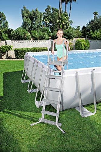 Bestway Power Steel Rectangular Frame Pool–Juego de Piscina Rectangular de Estructura de Acero Reforzado, con Bomba de Filtro, 956x488x132cm, Color Gris Claro