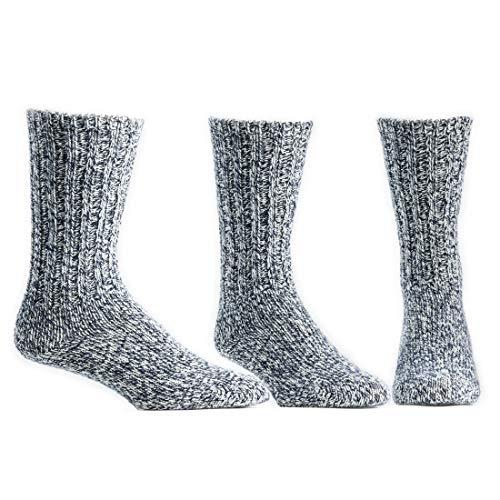 Ballston Unisex Merino Wool House Socks/Ragg Socks - 3 Pairs for Men and Women(Classic Navy, L (Fits Men's Shoe 9-12, Women's 10-12))