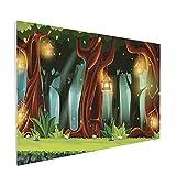 Kit de peinture décorative sans cadre - Forêt enchantée avec arbres en fleurs - Fond mystique - Paysage de dessin animé - 40 x 60 cm