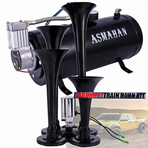 Air Horn, Train Horns Kit for Trucks, Car Motorcycle Boat Horns 12 v Waterproof Golf Cart, 150 db, Air Compressor Train Horns Kit for Trucks,