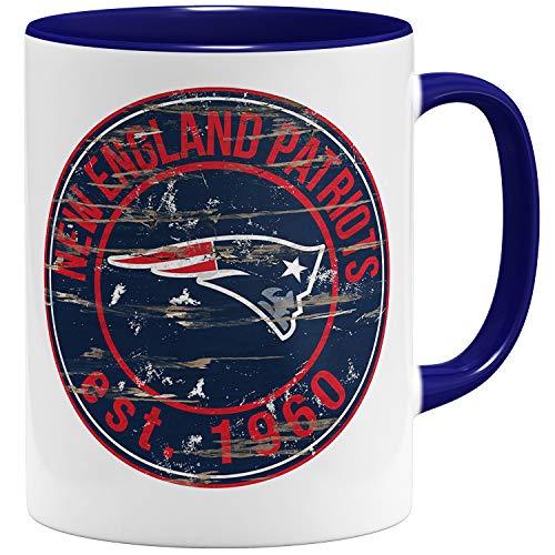 OM3® New England Badge Tasse | Keramik Becher | 11oz 325ml | American Football Mug | Dunkelblau