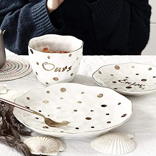 YLJYJ Juego Combinado de 12 Piezas de Porcelana para Servicio de Cena, vajilla de cerámica con Lunares Dorados, Plato Grande para Cena, Plato de Carne, Sopa Bo (Juegos de Cena)