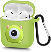 Airpods Case Wireless Headphone Keychain Accessories Protective Silicone Cover and Skin with Carabiner for Apple Airpods Charging Case (Green Monster)