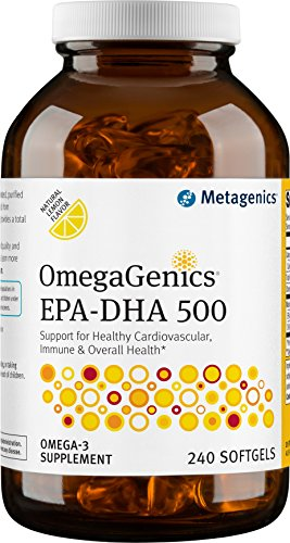 Metagenics OmegaGenics® EPA-DHA 500 – Omega-3 Oil – Daily Supplement to Support Cardiovascular Health, 240 count