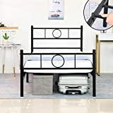 GreenForest Twin Size Bed Frame with Headboard Metal Heavy Duty Square Slats Support Mattress Foundation Box Spring Replacement, Black